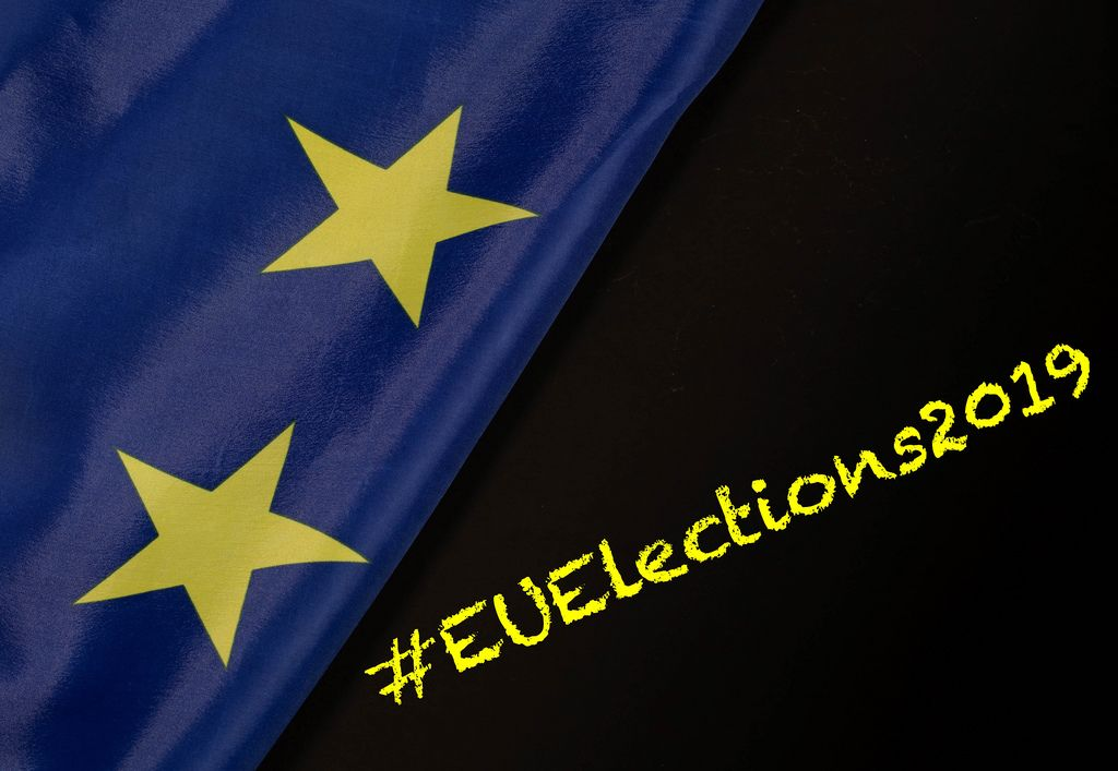 #EUElections2019 text with European Union flag