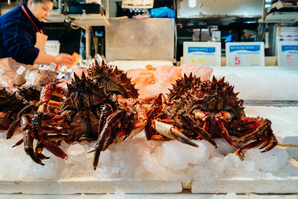 2 Homarus selling at fish food market in Athens, Greece
