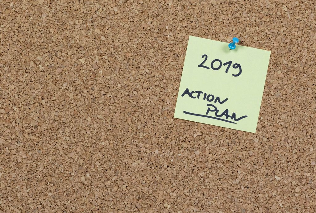 2019 action plan written on sticky note