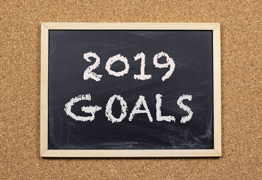 2019 goals on chalkboard