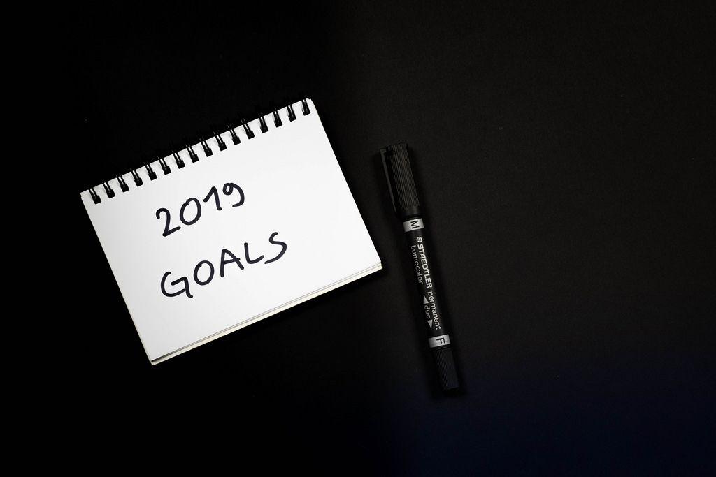 2019 goals written on notebook
