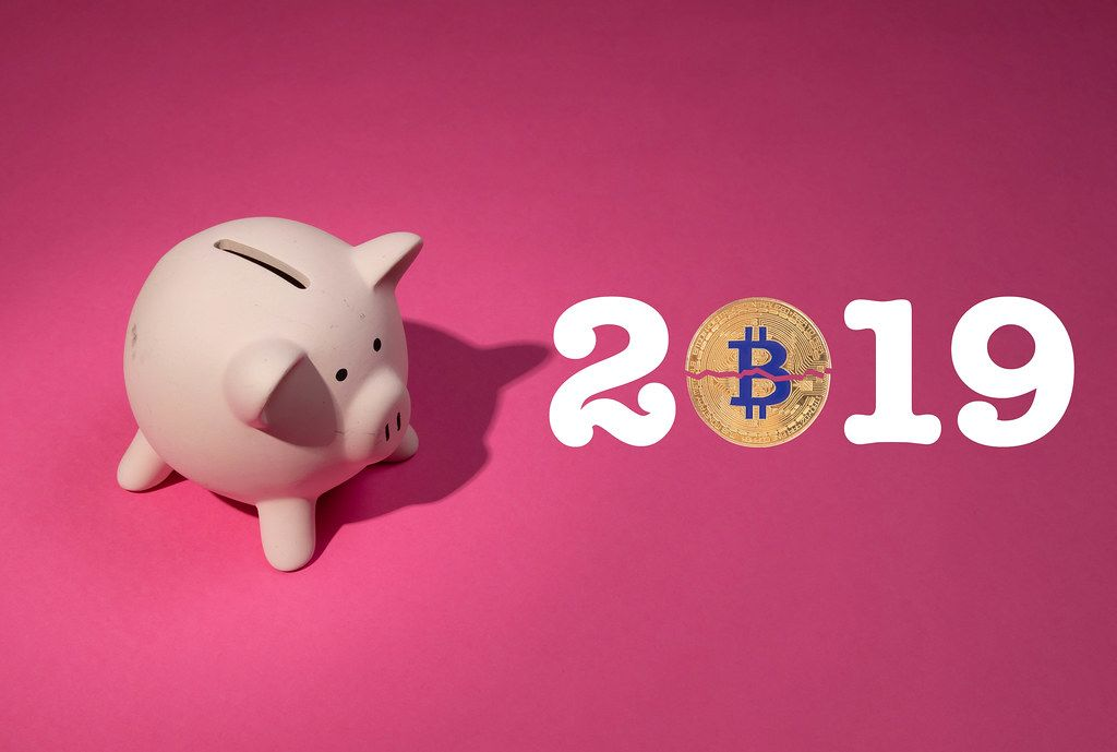2019 text with Bitcoin and piggy bank on pink background