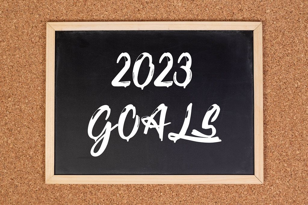 2023 goals on chalkboard