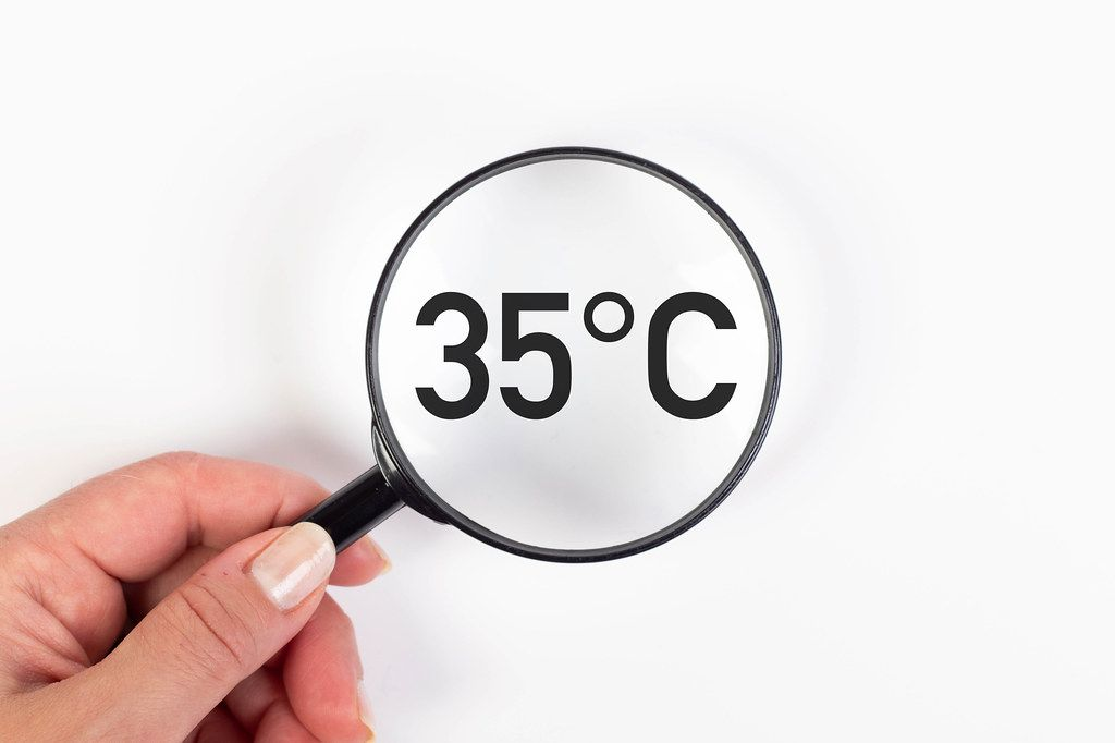 35 degrees Celsius text under magnifying glass