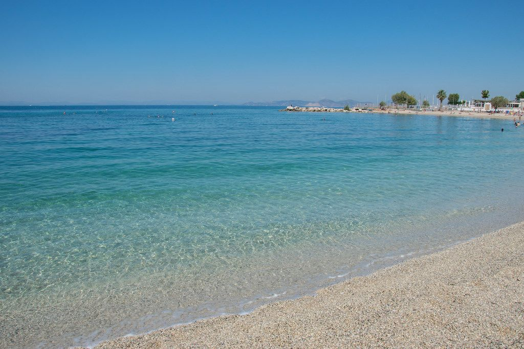 A beautiful view out on the Mediterranean sea from a beach in Athens, Greece