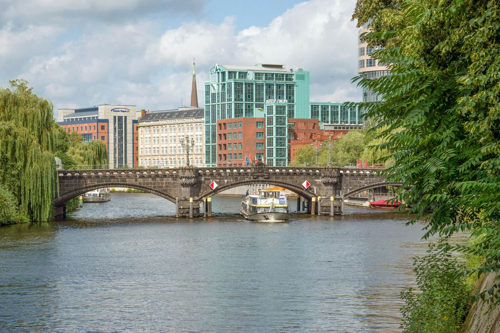A bridge over the Spree river in the central part of Berlin, Germany
