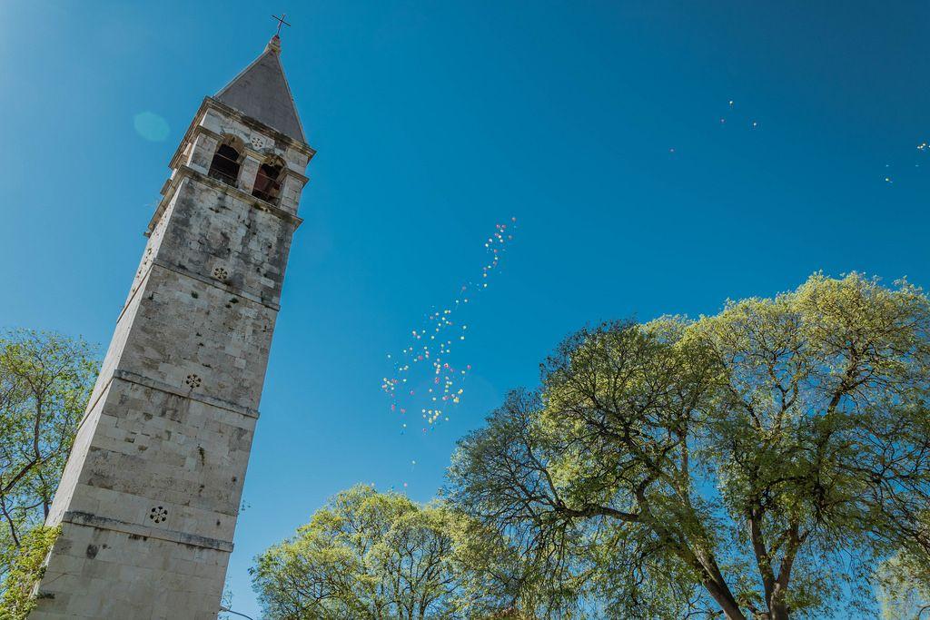 A church tower in Split, Croatia