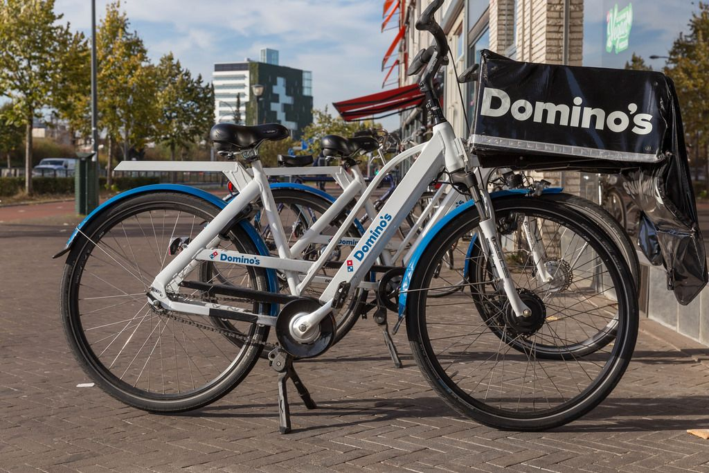 A Dominos Pizza delivery-bike in Venlo, Netherlands