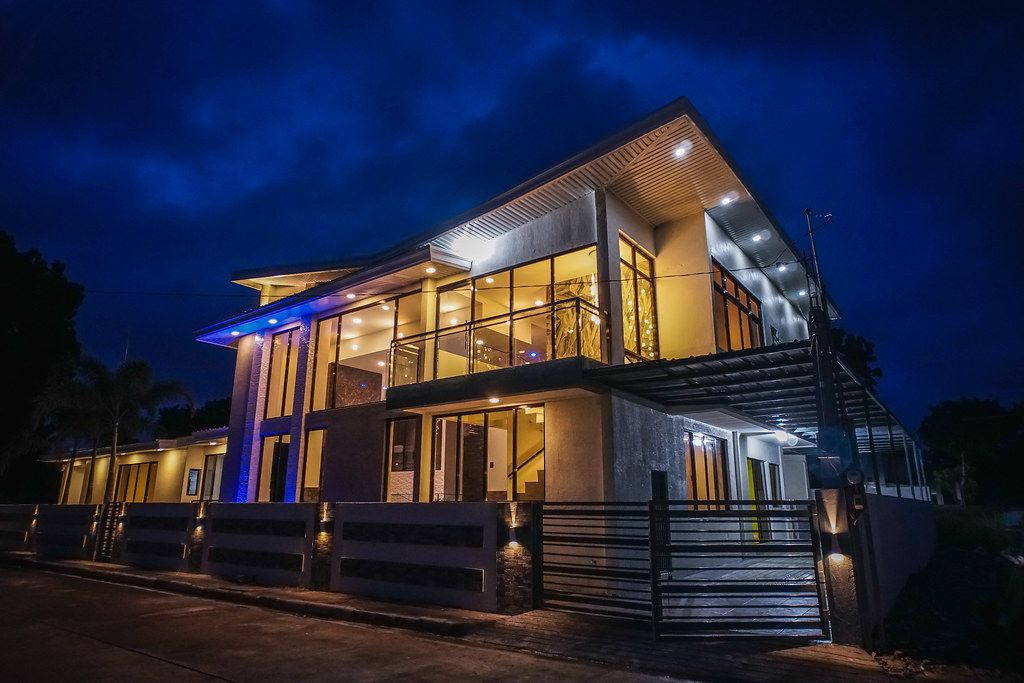 A modern villa with unique lighting fixtures