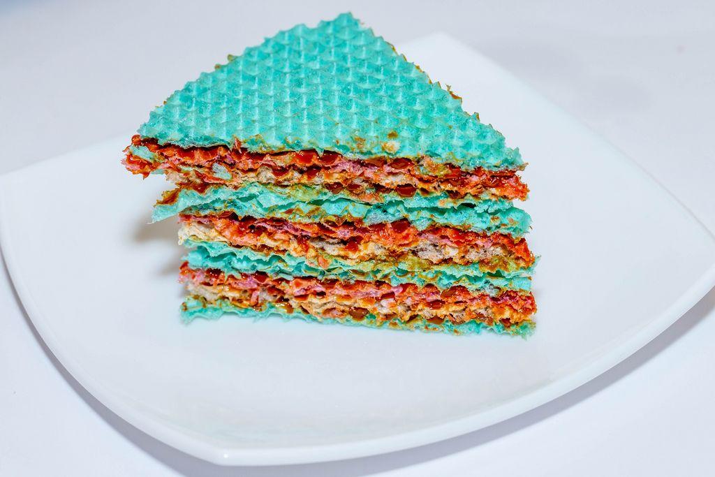 A piece of sweet crispy cake with condensed milk (Flip 2019) (Flip 2019) Flip 2019