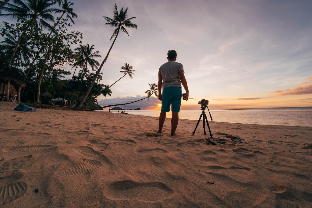 A videographer setting up for timelapse, Punta Bulata