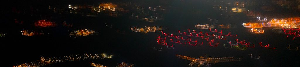 Abstract picture of airport lights from up above