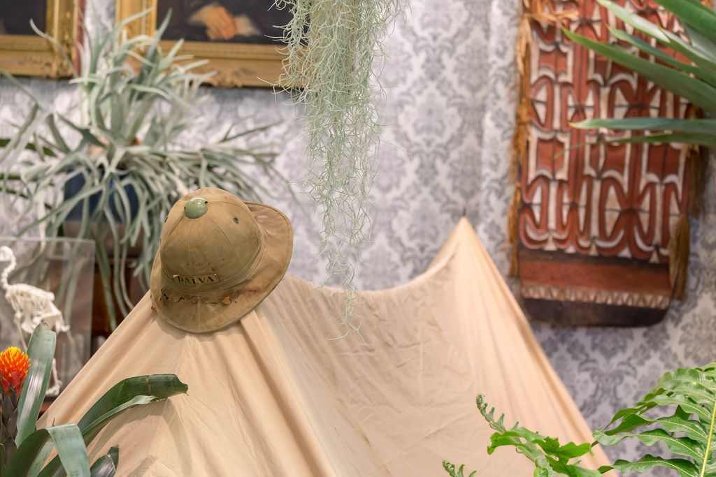 Adventure setting at Dalva booth with tent, hat and different plants