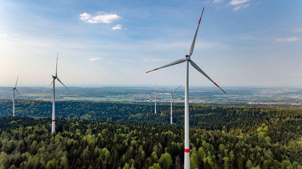 Aerial Drone Shot of Wind Turbines at Wind Park in Straubenhardt, Germany