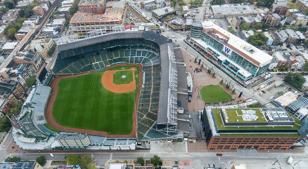 Aerial Drone Shot of Wrigley Field in Chicago, Illinois