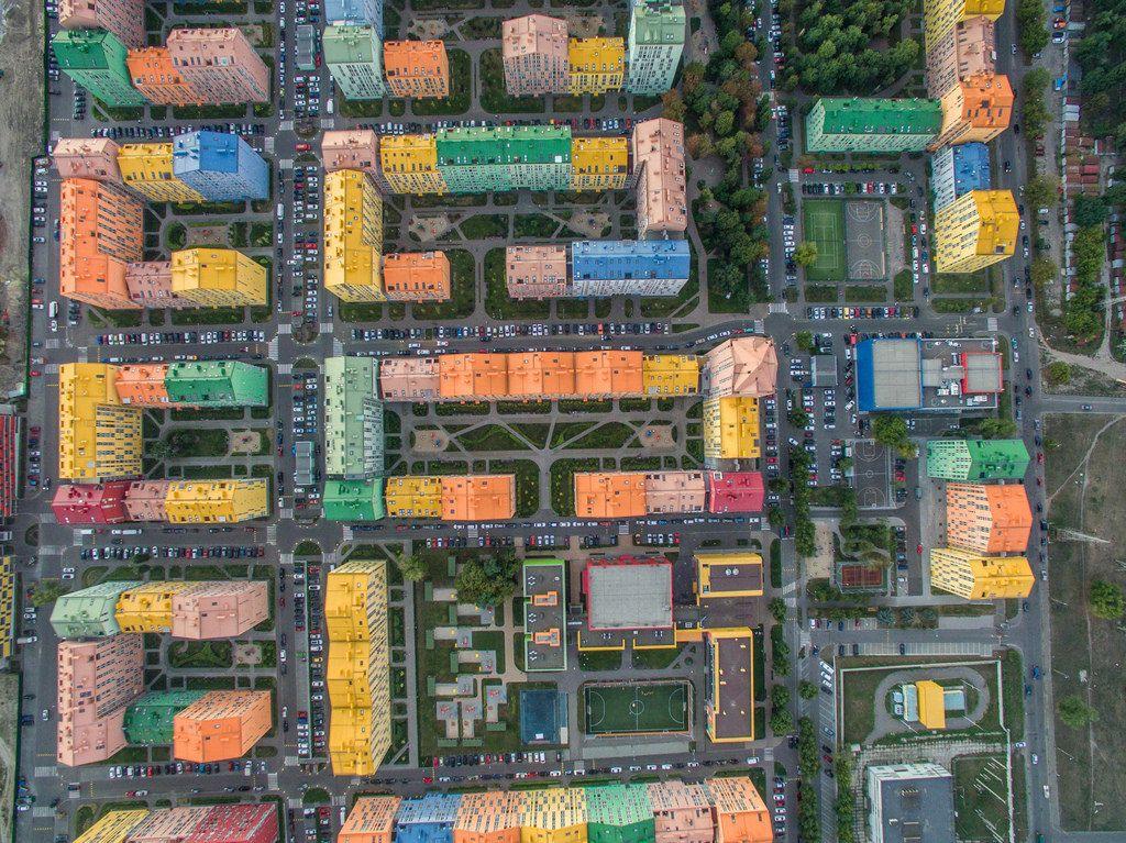 Aerial of Comfort Town in Kiev