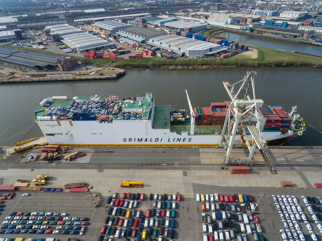 Aerial of Container Ship Grimaldi Lines