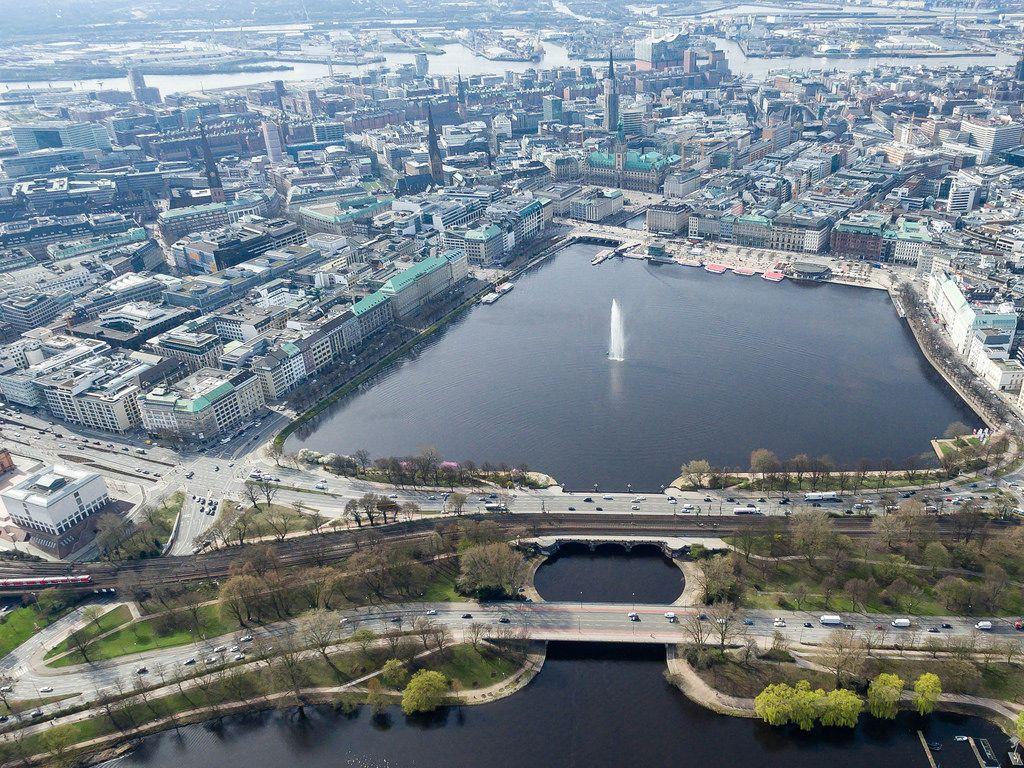 Aerial of Hamburg's Binnenalster