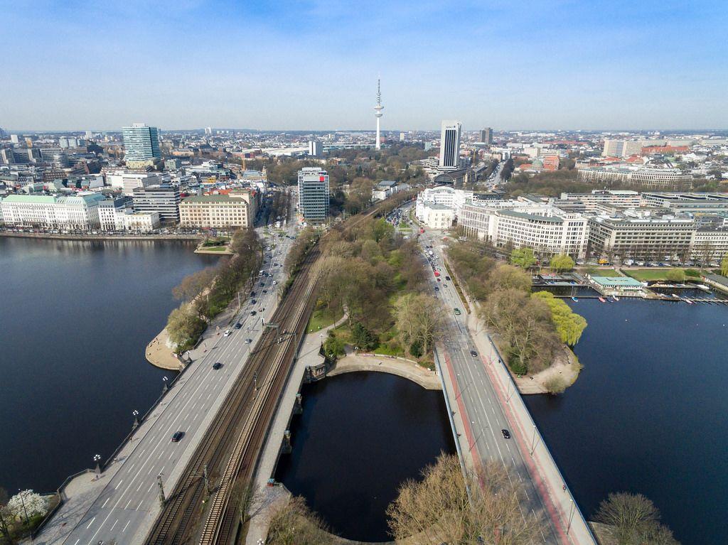 Aerial of Hamburg's Kennedy Bridge