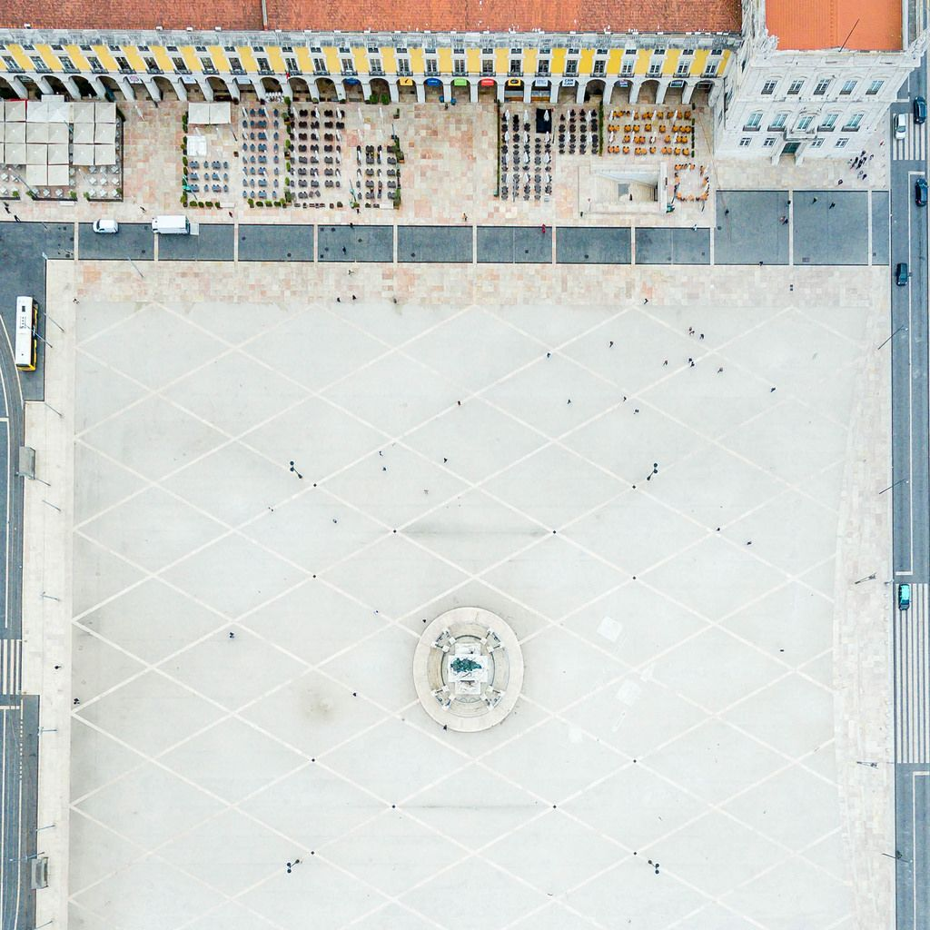 Aerial of Praça do Comércio (Top down)