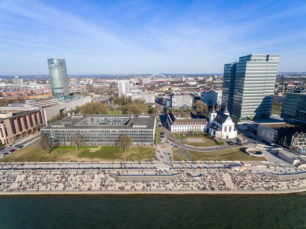 Aerial of Rheinboulevard Cologne in Golden Hour