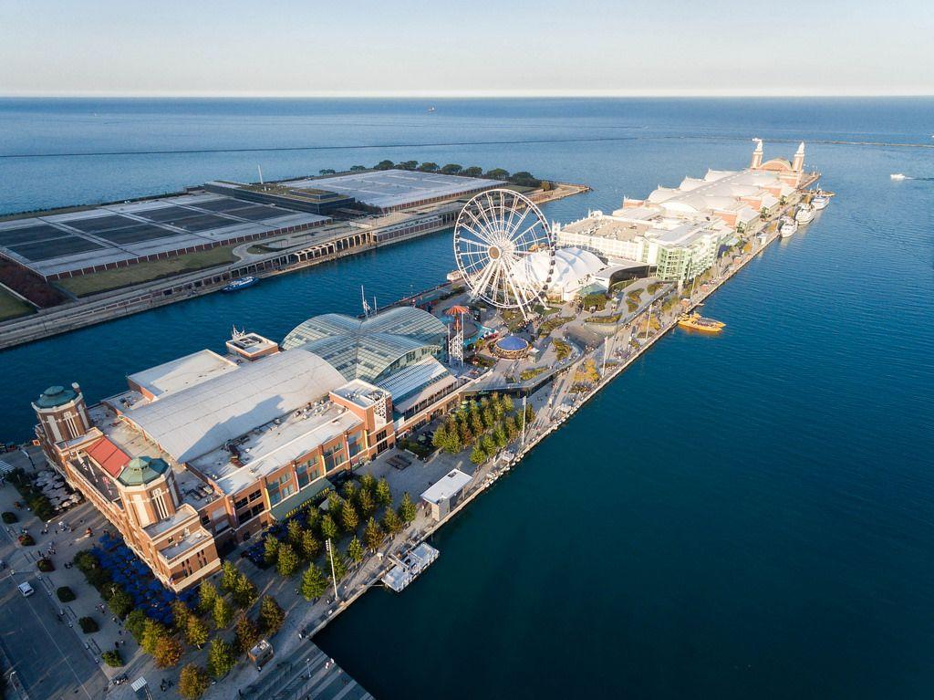 Aerial photo: Chicago Children's Museum, Navy Pier, Centennial Wheel and Amazing Chicago Funhouse Maze