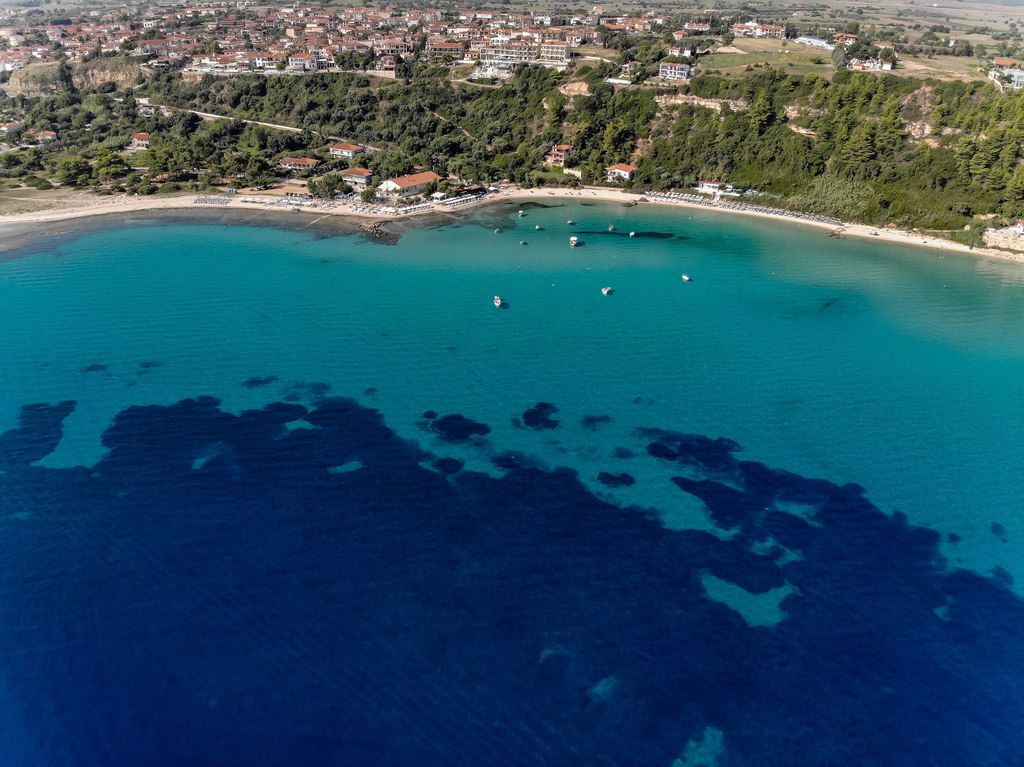 Aerial photo of Afitos and surrounding sea
