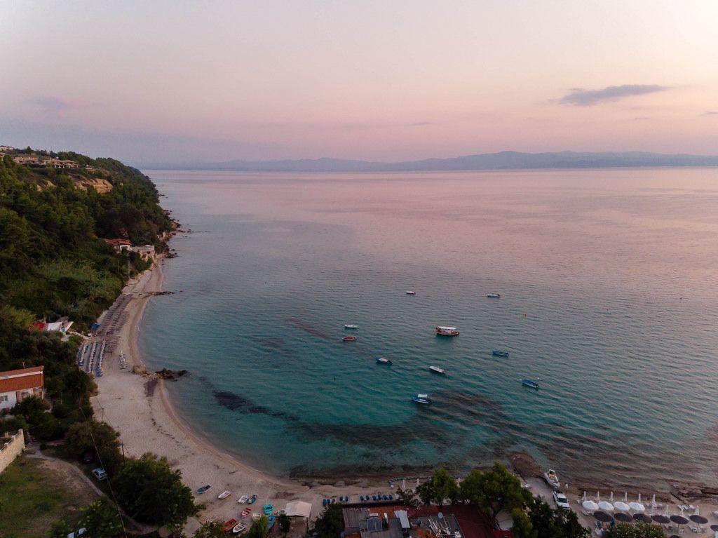 Aerial photo of Afitos beach at sunset
