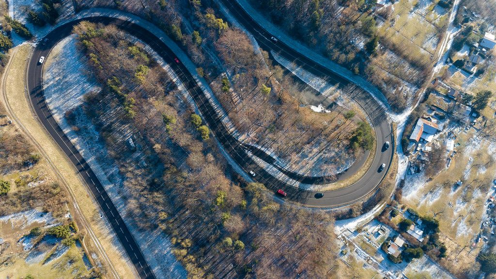 Aerial photo of an S bend