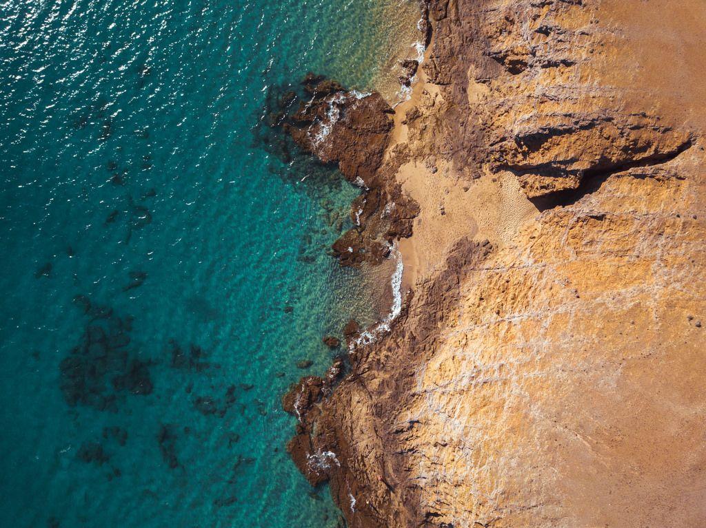 Aerial photo of Lanzarote coast / Luftaufnahme der Küste von Lanzarote