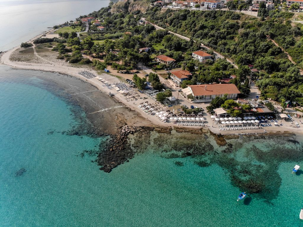 Aerial photo of the entire beach in Afitos, Greece