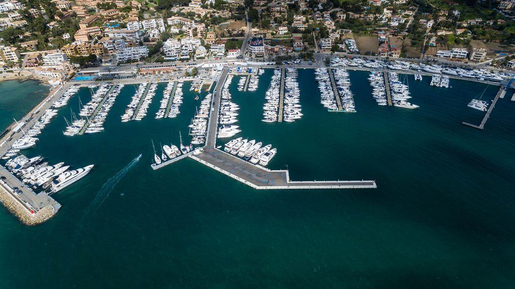 Aerial photo of the marina in Puerto de Andraitx, Mallorca