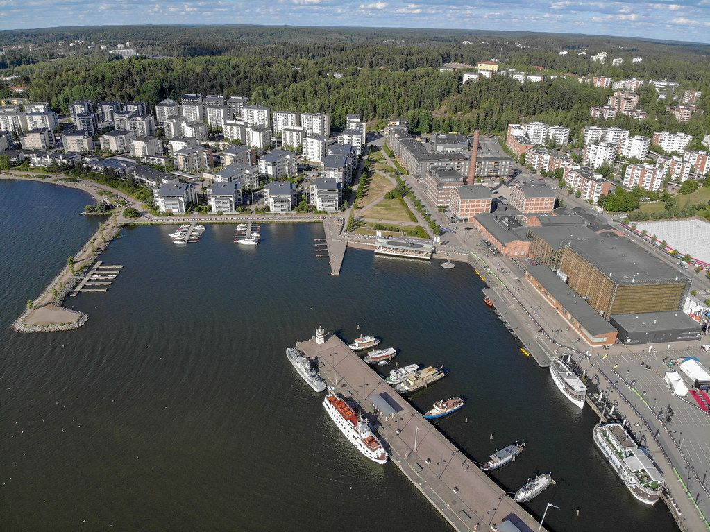 Aerial photo shows a route section for the Finnish triathlon event