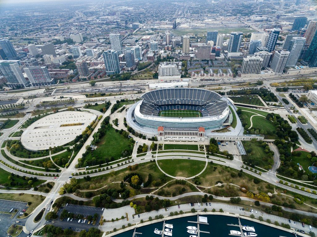 Aerial photo: Soldier Field stadium and Chicago's highrises