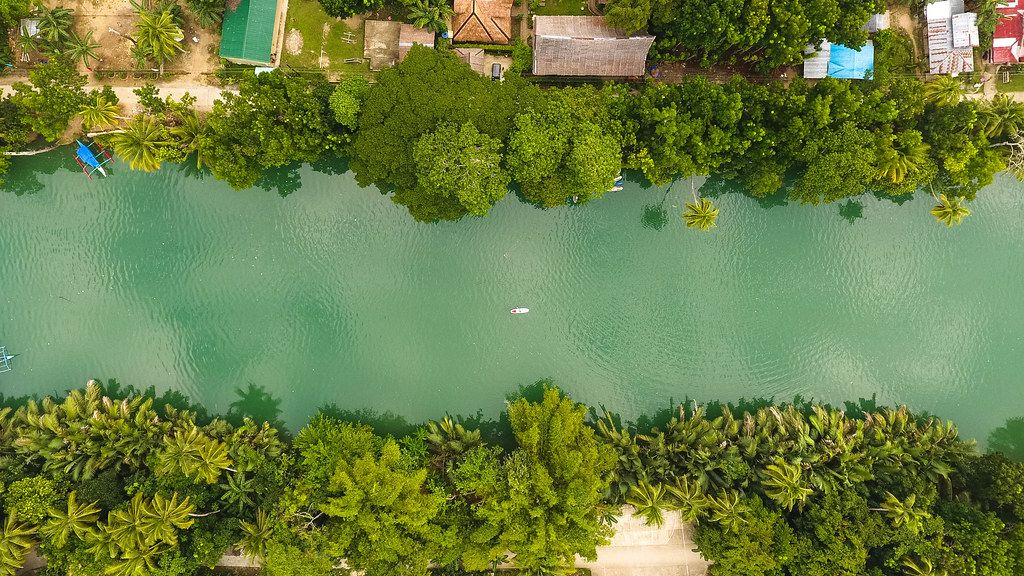 Aerial shot of a river in Palawan Island, Philippines