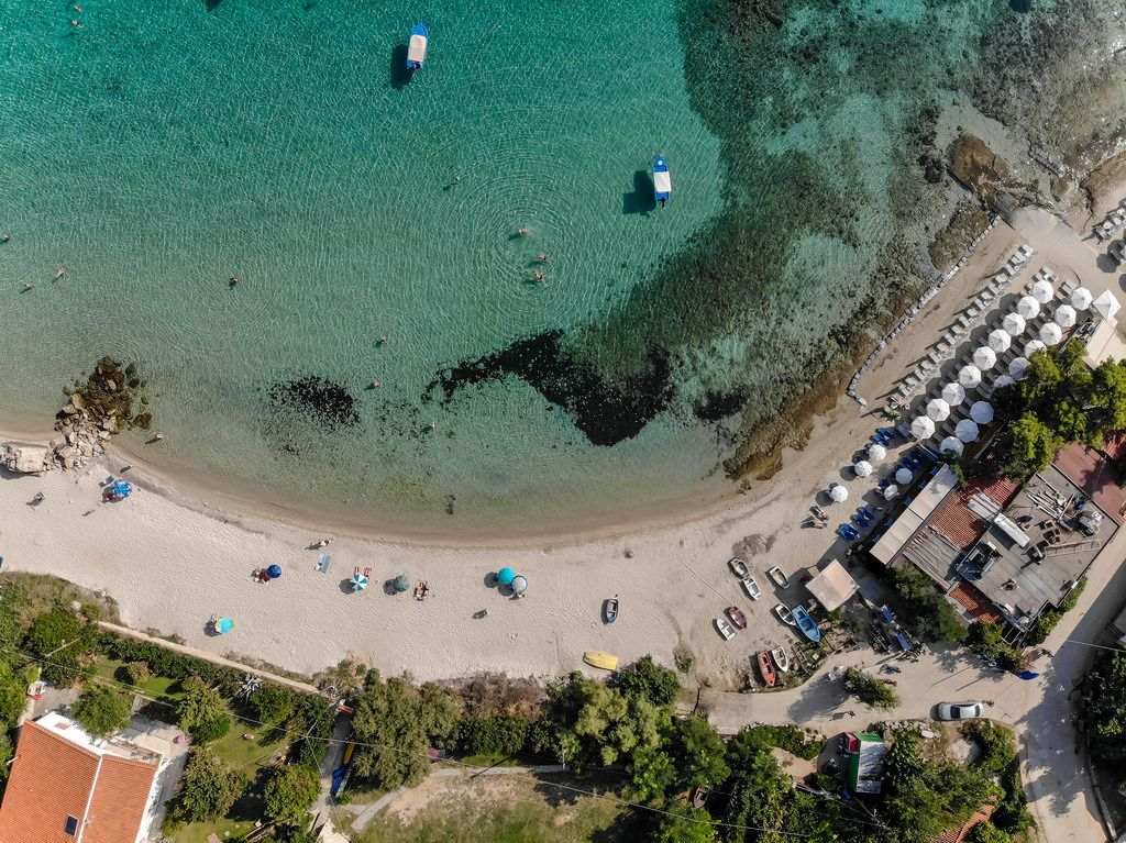 Aerial shot of Afitos beach