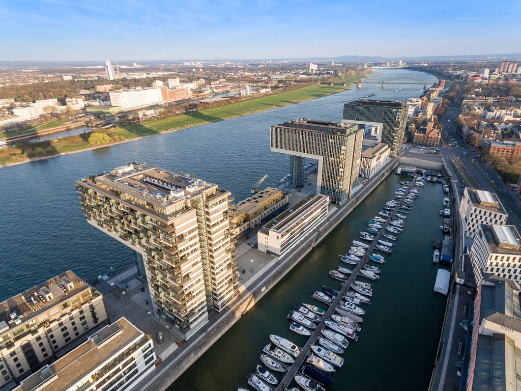 Aerial Shot of Rheinauhafen Cologne