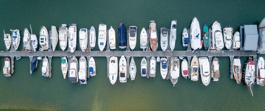 Aerial Shot of Sailing Yachts