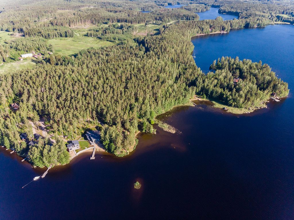 Aerial view of a lake landscape in the south of Finland, with Villa Jolla in Padasjoki and nature reserve Paijänne, near Hämeenlinna and Lahti