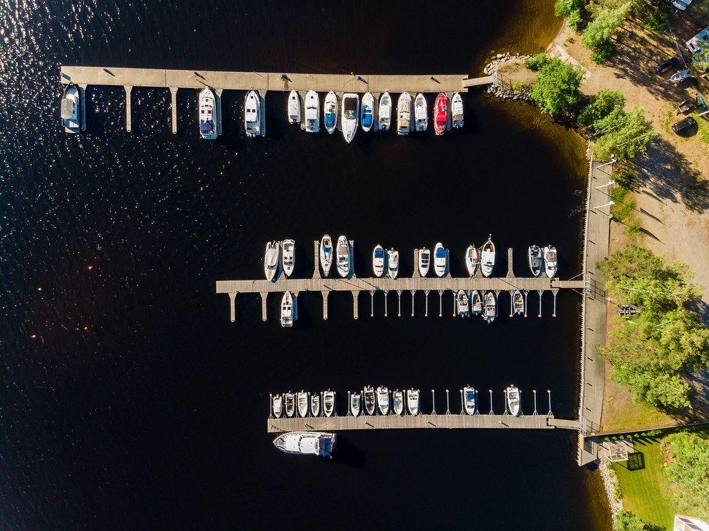 Aerial view of a small Port for motorboats at Lake Päijänne in Padasjoki, Finland