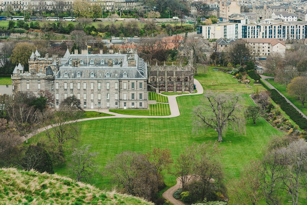 Aerial view of Holyrood Palace, in Edinburgh.
