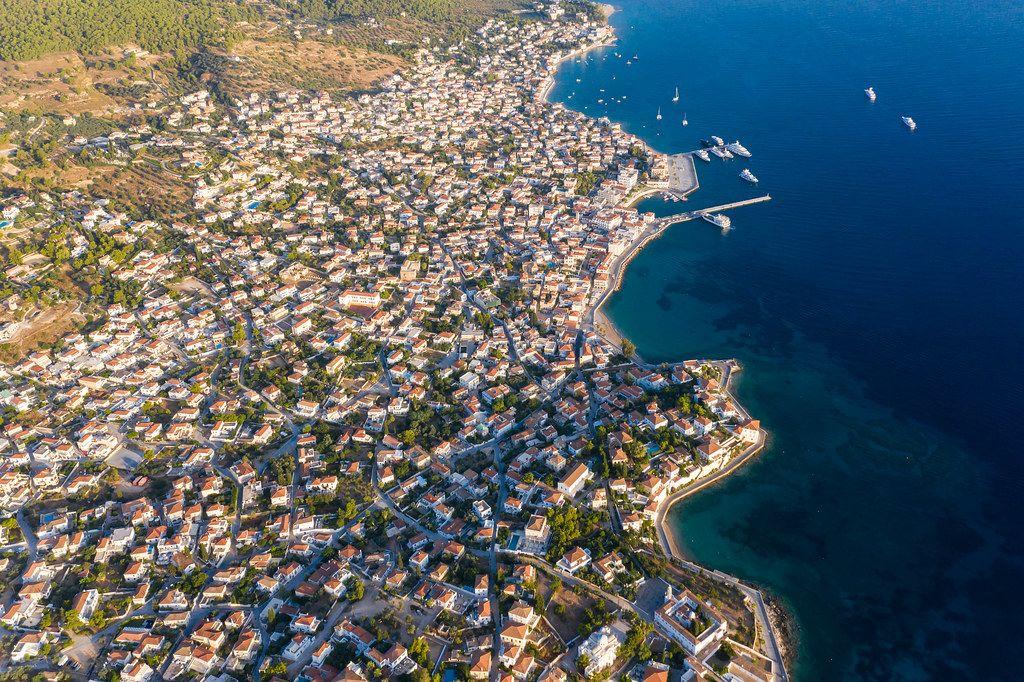 Aerial view of mediterranean houses on the Greek Island of Spetses, 2.5 kilometres off the Argolis coast