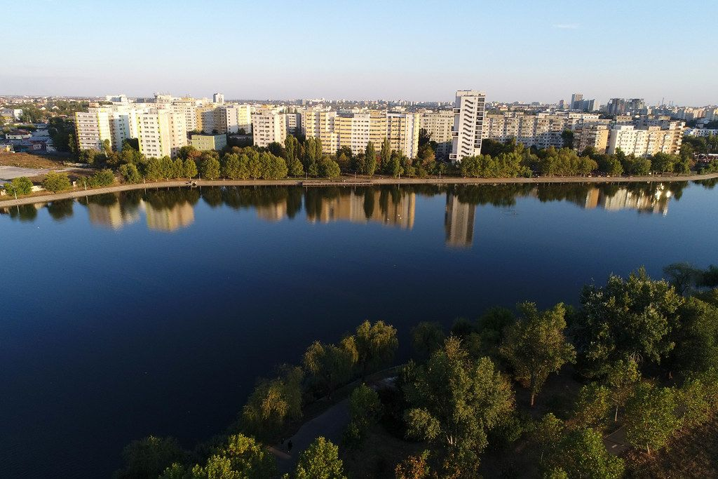 Aerial view of Plumbuita lake and residential area in Bucharest, Romania