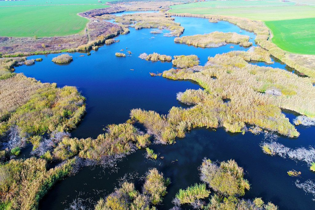 Aerial view of small delta, drone capture