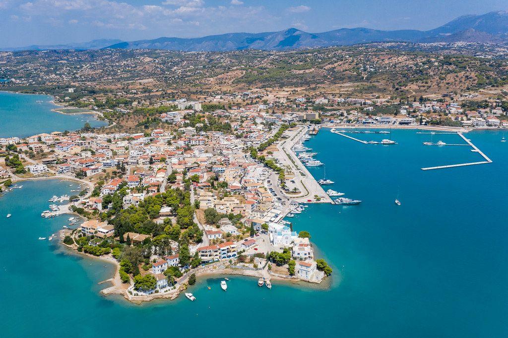 Aerial view of the greek holiday resort Porto Heli in Ermionida, Argolis, on the Peloponnese in the Argolic Gulf
