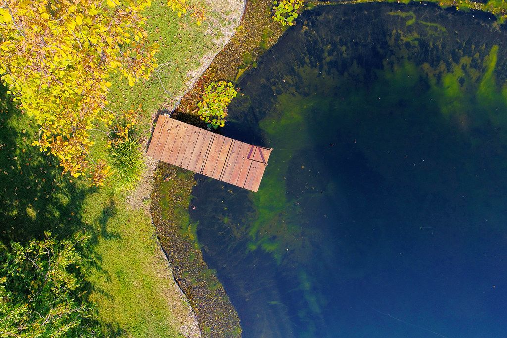 Aerial view of wooden pontoon by the lake (Flip 2019)
