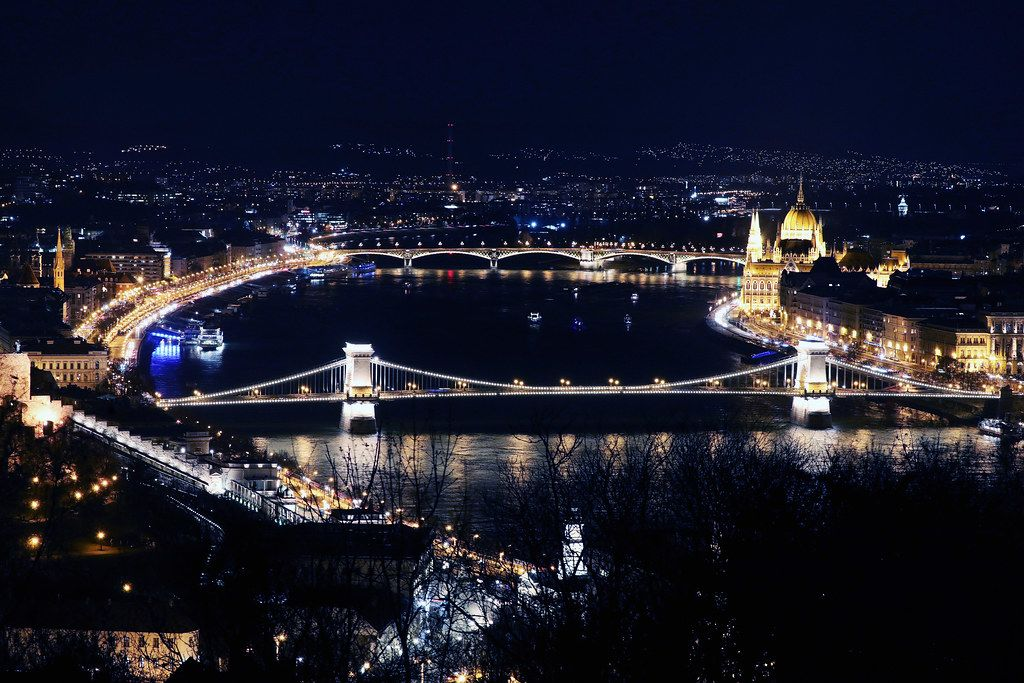 Aerial view over Budapest bridges, night view