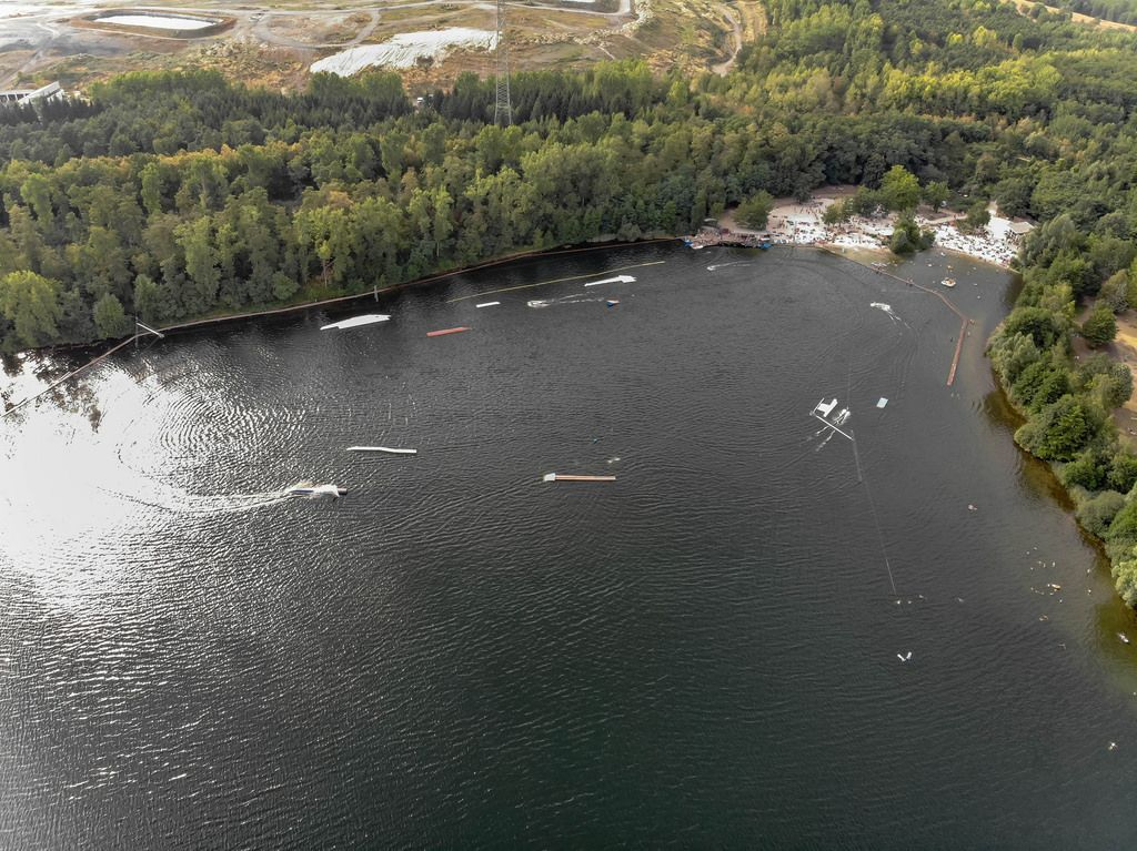Aerial: Water Ski at Bleibtreusee Germany