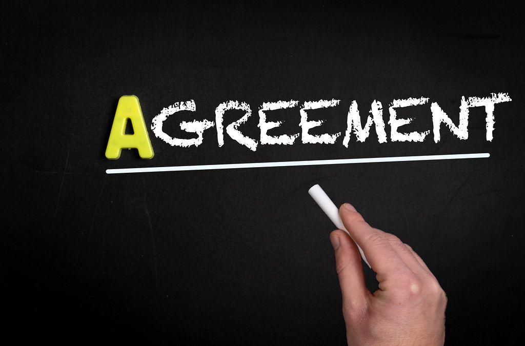 Agreement text on blackboard