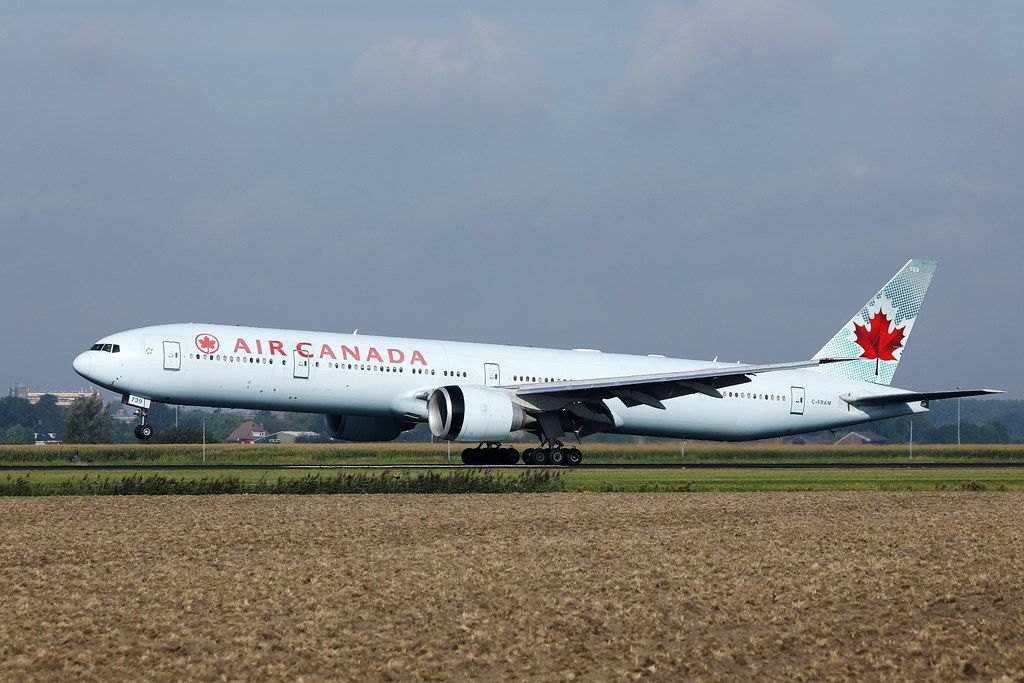 Air Canada airplane taking off from Amsterdam Airport AMS